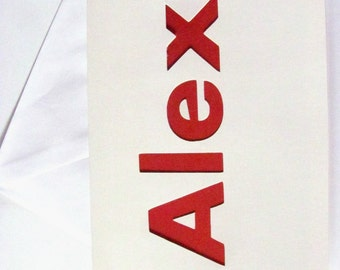 Alex Card,  Men's Birthday Card, Alex Birthday Card, Custom Name Card, Red and White Card