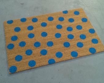 Turquoise Polka-Dot Doormat (18x30)