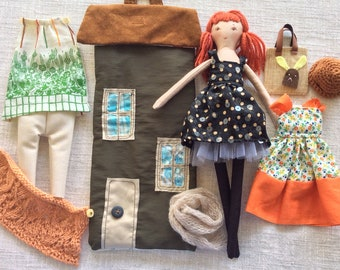 Doll in house bag, Handmade cloth doll , doll with clothes ,  dress up doll, rag doll, travel toy, doll in bag