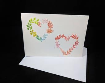 Flower Hearts - 5 Blank Greeting Card Set