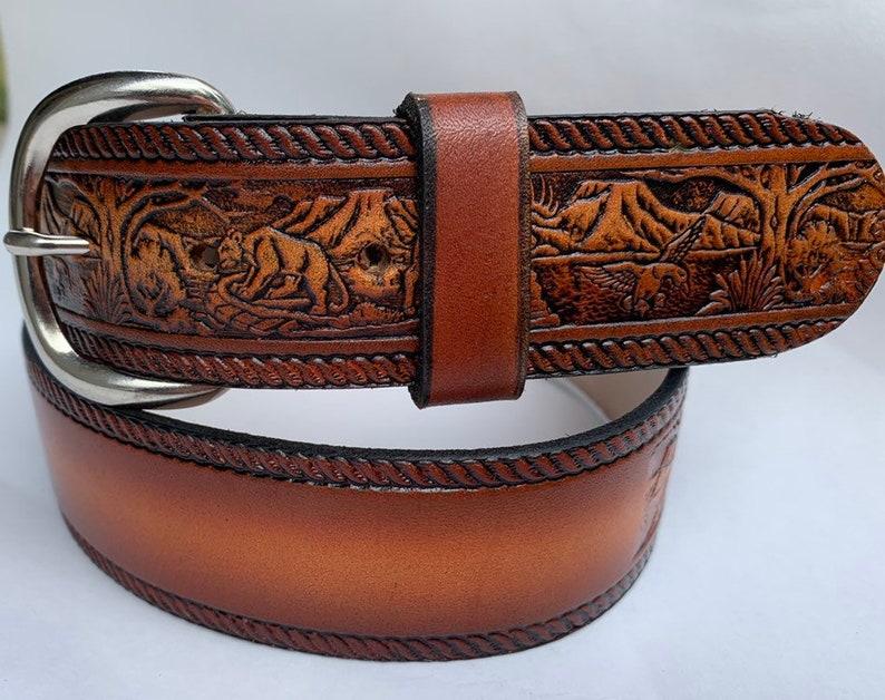 Personalized Leather Belt / Deer / Wildlife / Free Name / Free image 0
