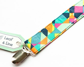 Technicolor clip | Pacifier clip - kaleidoscope colorful bright geometric, premium pima cotton, gender neutral baby, universal paci clip