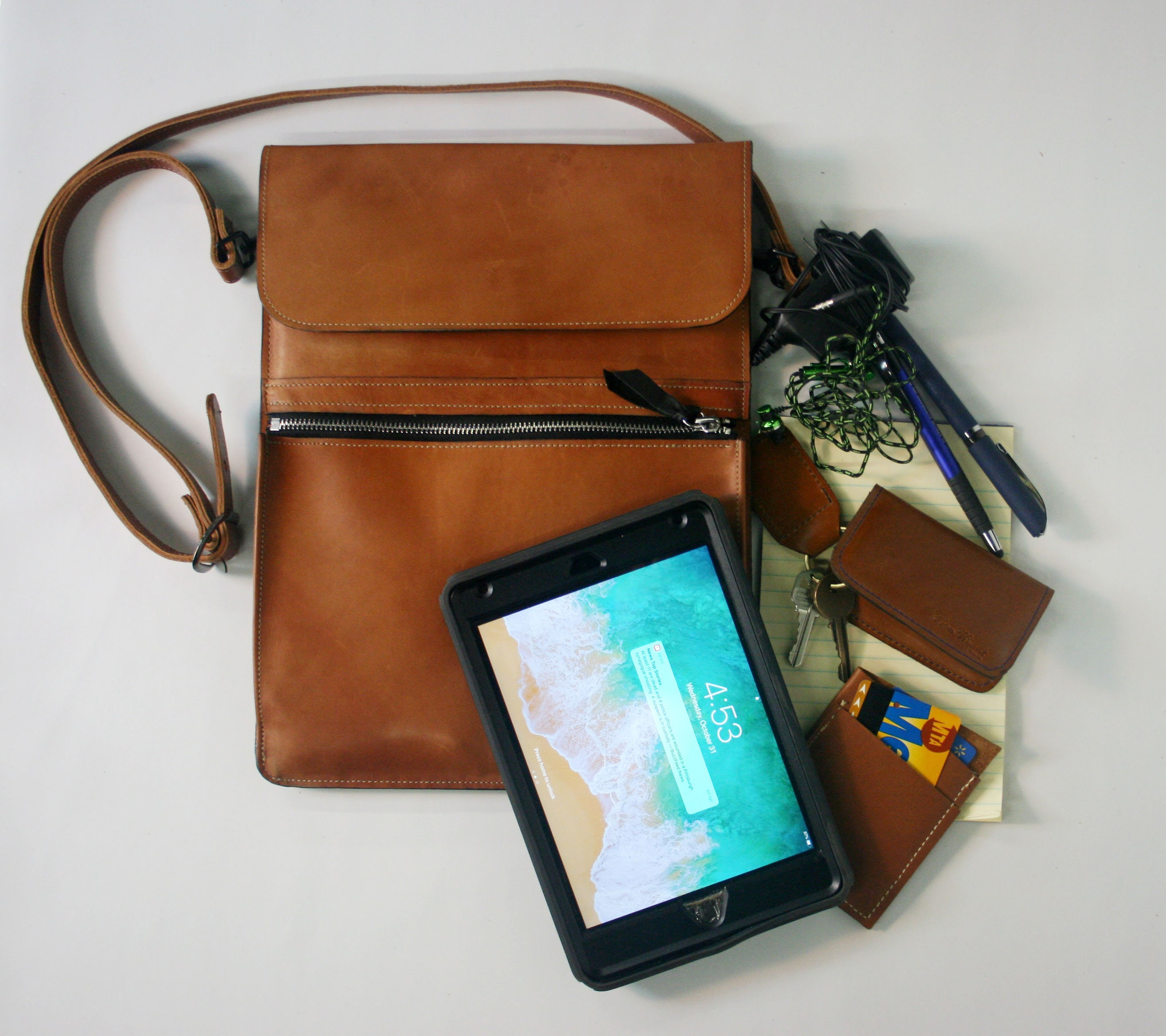 VEGA tablet/I-Pad hip/cross body/messenger bag in Horween leather