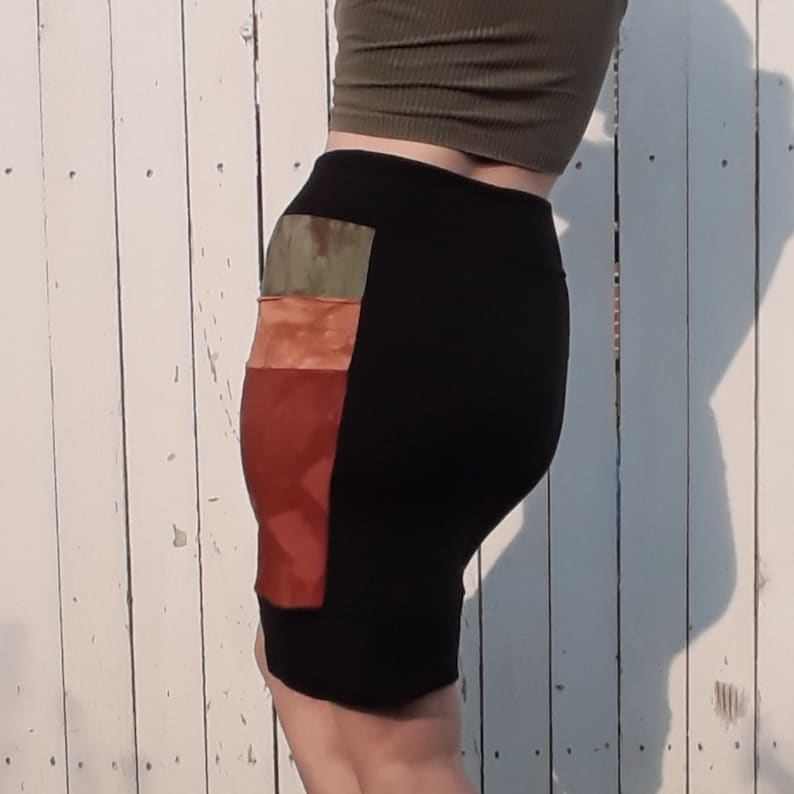 Jammin Fleece-lined Skirt in Black Green Orange Red with Pockets Bamboo Viscose Cotton