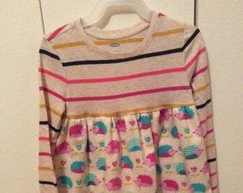 Stripes and hedgehogs little girls dress size 4T