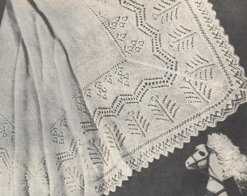 f25e0f350 Vintage knitting pattern baby shawl. Marigold