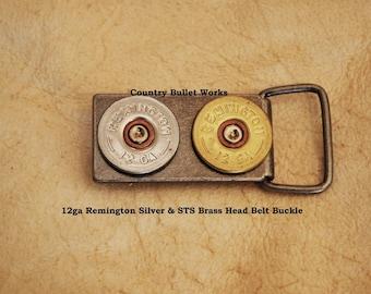 12ga Remington - Silver & STS Brass Head Shotgun Shell Head Belt Buckle - Special Mounting  - Hand Made From real shotgun shells