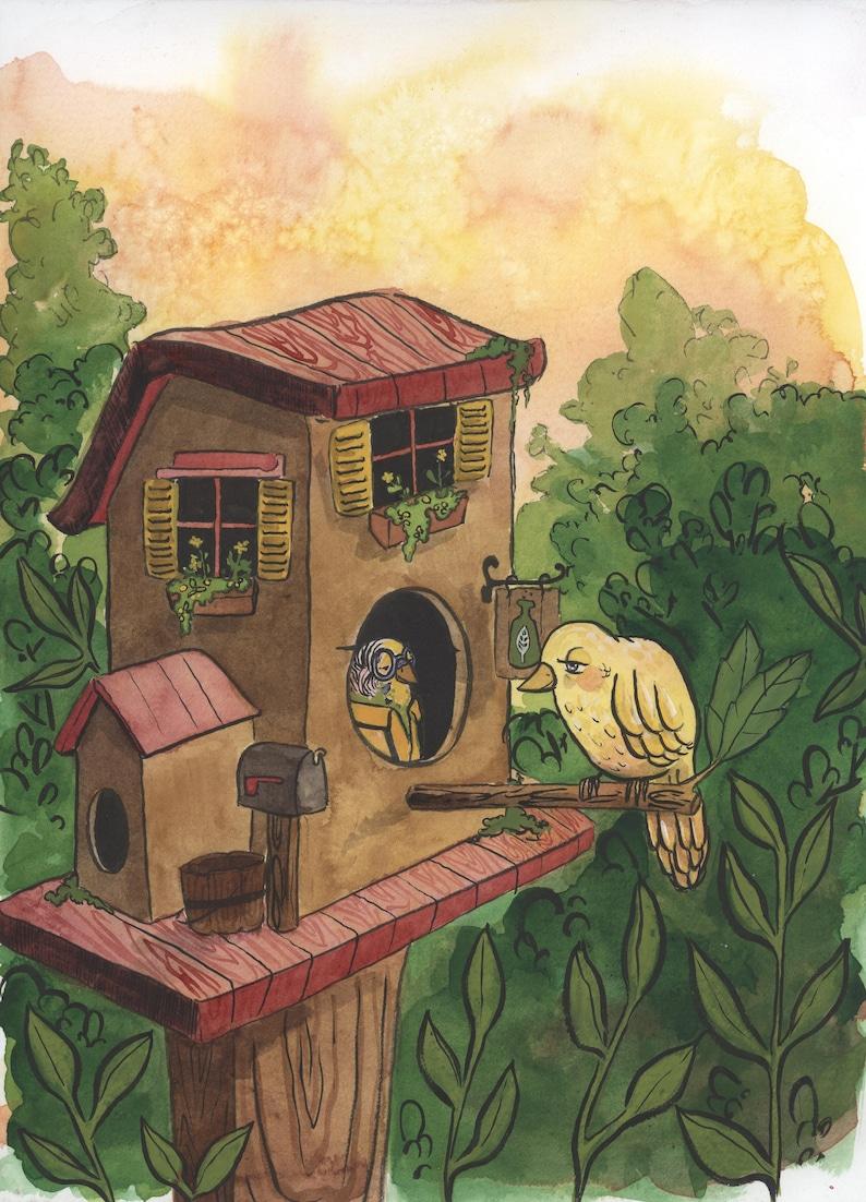 8x10 PRINT painting bird fantasy beatrix potter inspired pharmacy parakeet goldfinch songbird childrens art The Birdhouse