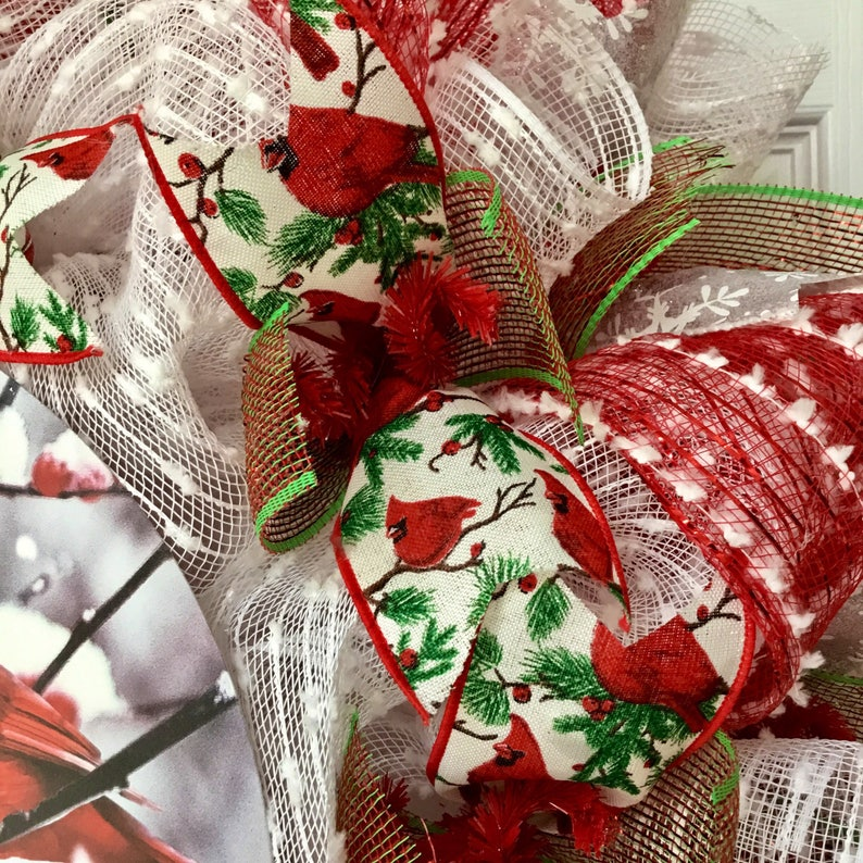 Seasons Greetings Cardinal Handmade Deco Mesh Holiday Wreath