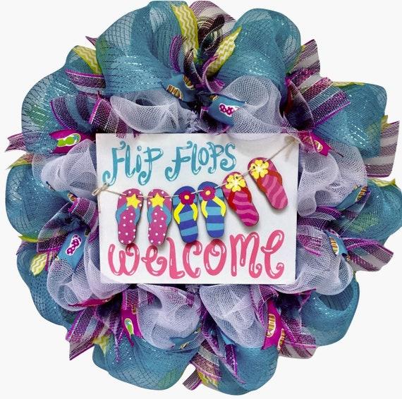 168a802482d5b Flip Flops Welcome Clothesline Deco Mesh Summer Wreath