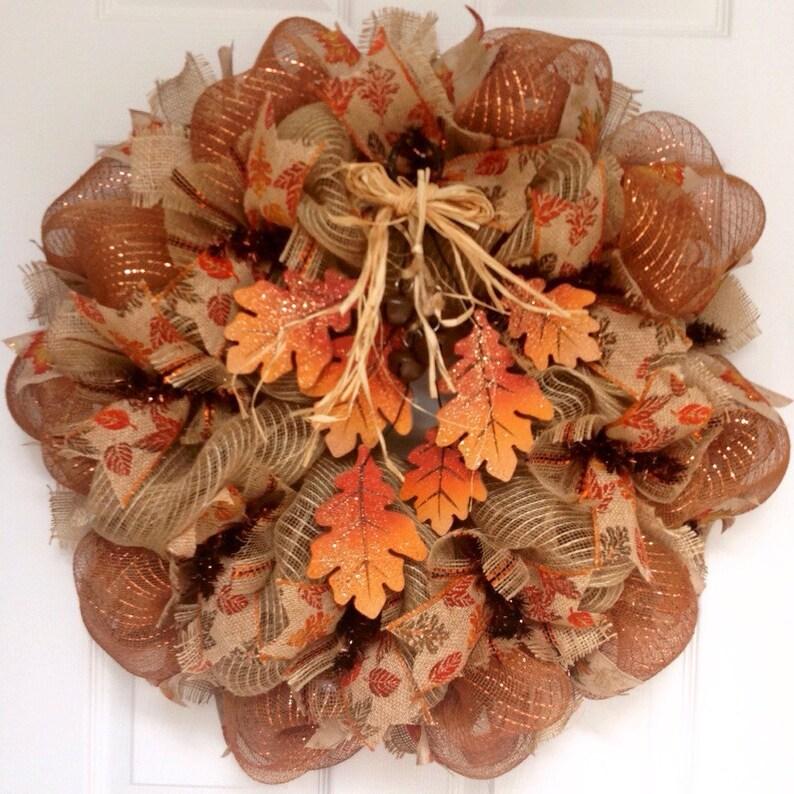 Cascading Fall Leaves Deco Mesh Wreath