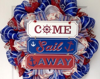 Come Sail Away Summer Nautical Wreath Handmade Deco Mesh