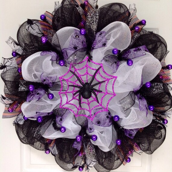 Metal Glittered Purple Orange and Black Bell with Bow Halloween Wreath