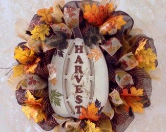 Autumn Harvest White Pumpkin Wreath Handmade Deco Mesh