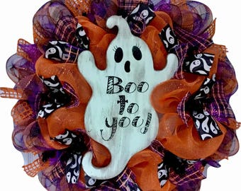 Halloween Ghost Deco Mesh Wreath Boo To You