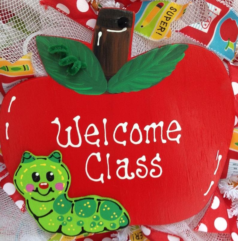 Welcome Class Teachers Deco Mesh Wreath