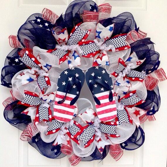 82006dc2e9ae1 Patriotic Flip Flop Beach Deco Mesh Wreath