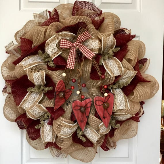 Country Burlap Valentines Day Deco Mesh Wreath With Rustic Etsy