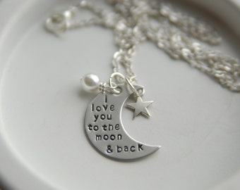 Silver Necklace | Handmade Necklace | Personalized Necklace | Moon Necklace | I Love You to the Moon and Back Necklace | New Mom Necklace