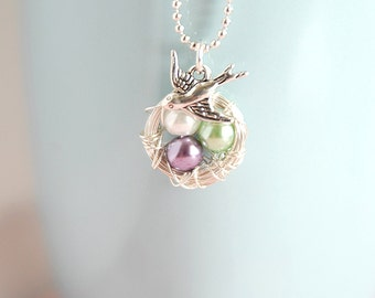 Wire Wrapped Nest Necklace - Pearl Nest Necklace - Bird Nest Jewelry - Birthstone Necklace - New Mom Gift - Silver Necklace - Wedding Gift