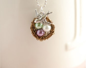 Wire Wrapped Nest Necklace - Pearl Nest Necklace - Bird Nest Jewelry - Birthstone Necklace - New Mom Gift - Birthday Gift - Wedding Gift
