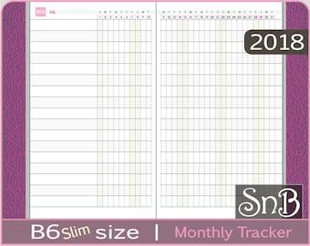 SnB B6slim - Monthly Habit Tracker - 2017 / 2018 - Printable Monthly insert for Traveler's Notebooks