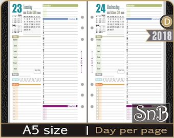 SnB A5 - Alison Edition - Day on 1 page - 2017 / 2018 - Printable Daily inserts for Filofax / Ring Binders