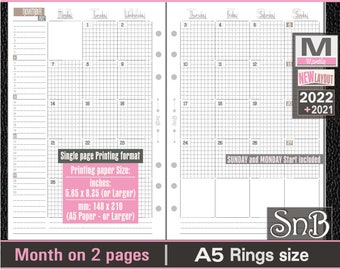 SnB A5 rings - Neutral microgrid - Month on 2 pages - A5 & Letter paper - 2021 / 2022 - Printable Monthly inserts for Filofax / Ring Binders