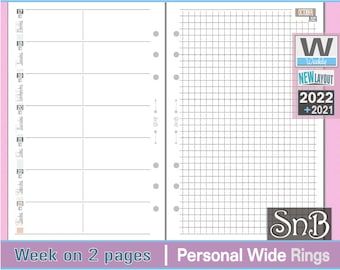 SnB Personal Wide - Neutral Edition - Week on 2 pages - 2021 / 2022 - Printable Weekly inserts for Ring Binders