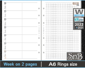 SnB A6 rings - Neutral Edition - Week on 2 pages - 2021 / 2022 - Printable Weekly inserts for Ring Binders