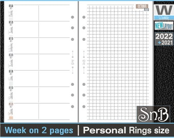 SnB Personal rings - Neutral Edition - Week on 2 pages - 2021 / 2022 - Printable Weekly inserts for Filofax / Ring Binders