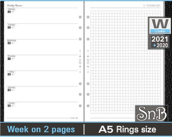 SnB A5 rings - Neutral Edition - Week on 2 pages - 2021 / 2022 - Printable Weekly inserts for Filofax / Ring Binders