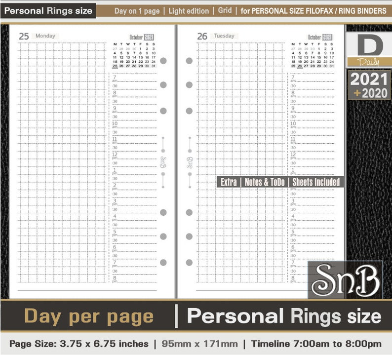 SnB Personal rings  Light Edition  Grid  Day on 1 page  image 0