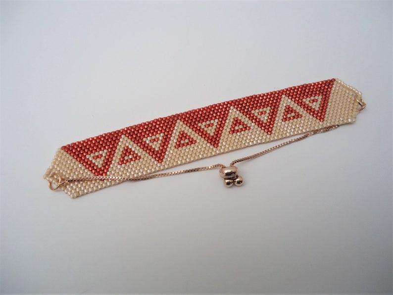Peyote Two Tone Triangles Bracelet with Sliding Clasp