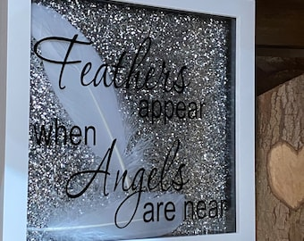 Picture Box Frame Handmade Feathers Appear When Angels Are Near Sparkle Glitter