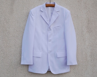 Vintage White Blazer Mens White Hipster Retro Blazer White Lounge Jacket White Tuxedo Blazer 80s 90s White Sportcoat Medium Size