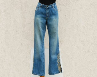 Vintage Embroidered Jeans High Waisted Jeans Wide Leg Pants Boho Pants Hippie Festival Pants Medium Size