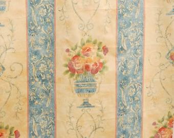 Vintage Anna French Delphi Stripe Beige Green Furnishing Fabric  Finnish Textile
