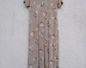 Vintage 1990 39 s Beige Floral Maxi Dress Flower Print Simple Minimalist Boho Lining Dress Medium Size