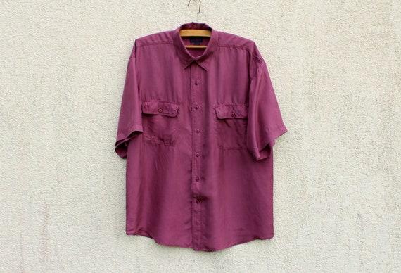 Vintage Purple Silk Shirt Men's Purple Silk Button
