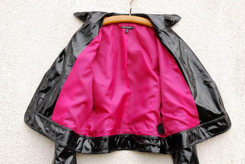 Vintage Black Vegan Leather Jacket Womens Black Shiny Jacket Blazer Marching Band Double Breasted Military MJ Michael Jackson Blazer