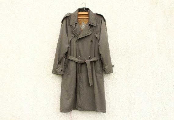 Vintage Khaki Trench Coat Men's Warm Trench Coat M