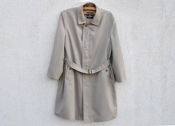 Vintage Gray Trench Coat Men's Belted Gentlemen's