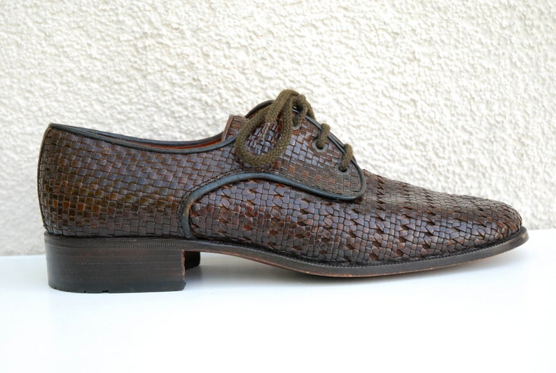 Vintage Brown Woven Leather Shoes Men/'s Woven Oxford Shoes Men/'s Leather Oxford Shoes Men/'s