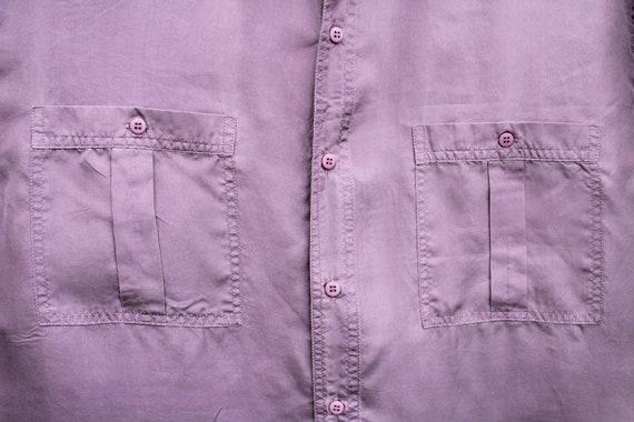 Vintage Purple Silk Shirt Men's Purple Silk Butto… - image 3