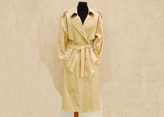 Vintage Trench Coat Classic Beige Trench Coat Womens Double Breasted Trench Coat Shoulder Pads Belted Lining Overcoat Raincoat Medium Size by Etsy