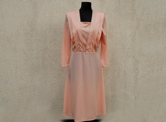 Vintage 1980s Dress Salmon Pink Sheer Dress Long Sleeves Silver Embroidered Midi Dress Summer Dress Boho Party Secretary Dress Medium Size