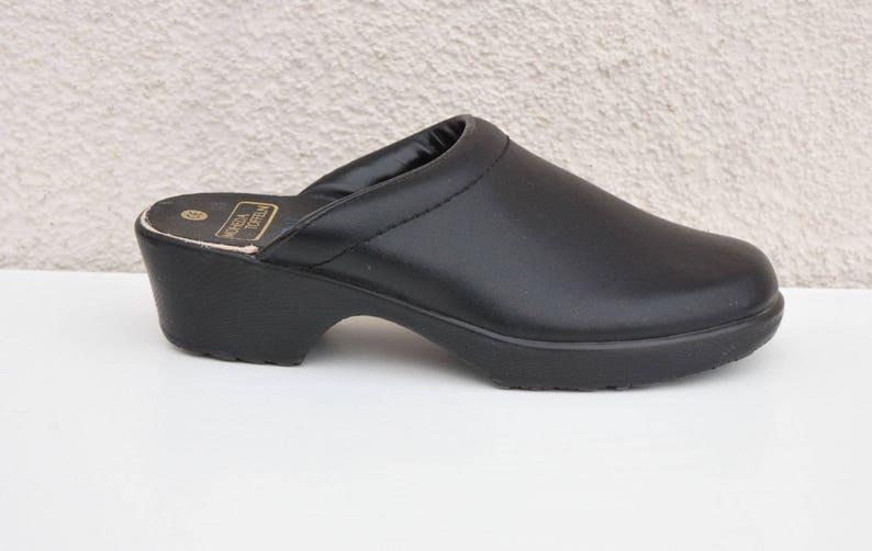 Vintage Black Leather Clogs Women/'s Boho Shoes Sweden Clogs Size EUR 35 US 4.5 UK 2.5