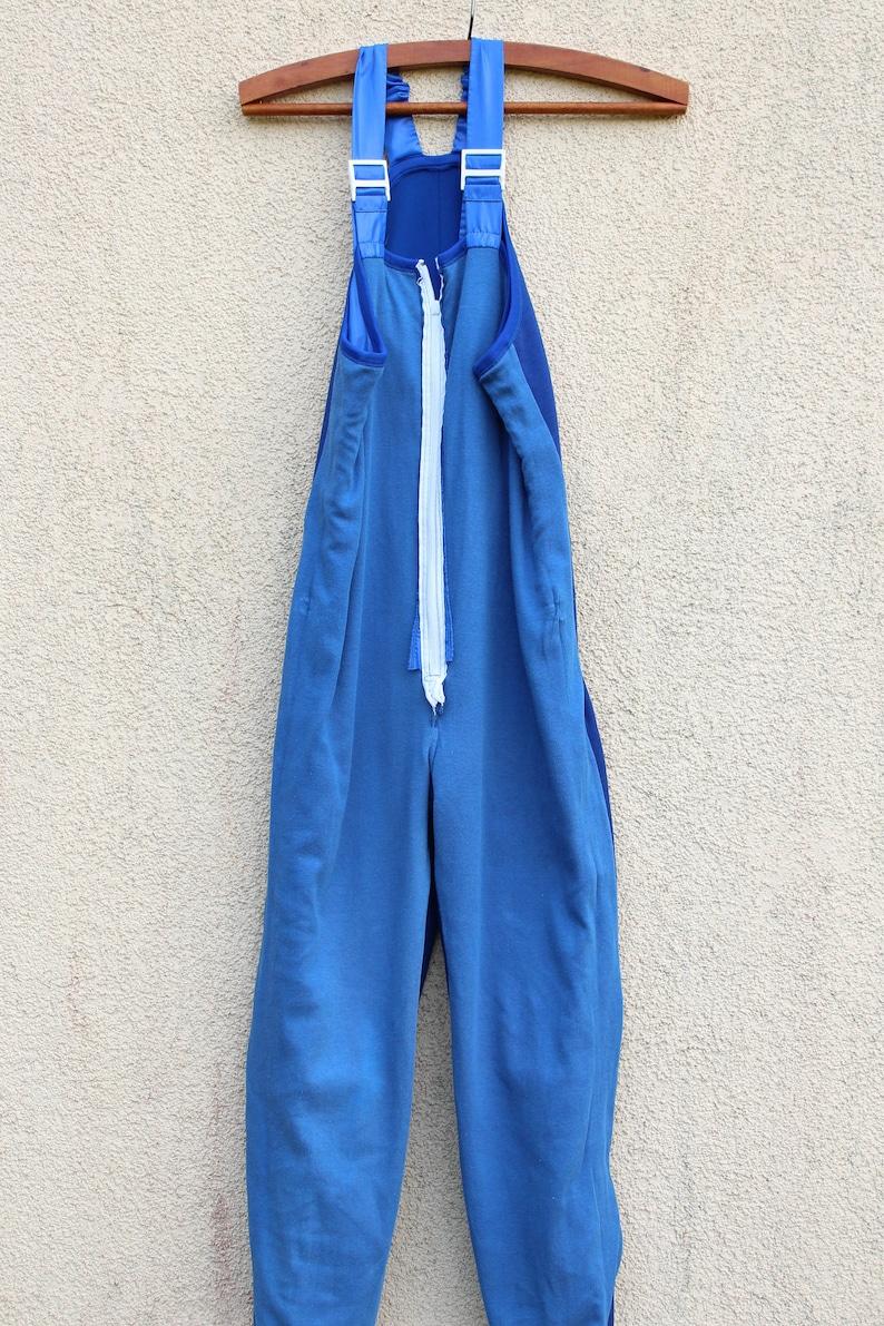Vintage 80/'s Sports Onesie Unitard Zipper Unitard Bodysuit One Piece Workout Wear Aerobics  Elastic Sports Romper Pants Medium Size