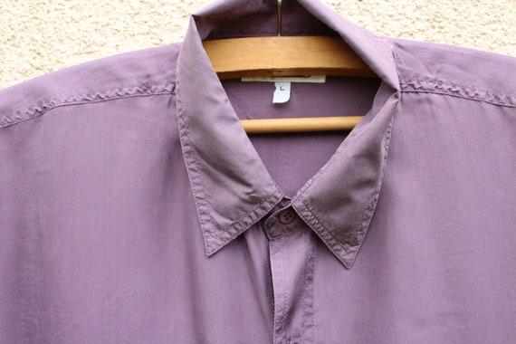 Vintage Purple Silk Shirt Men's Purple Silk Butto… - image 2